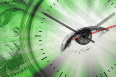 Conceptual montage themed around money with a clock and an eye in the center of the dial.